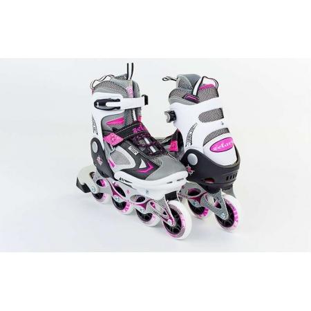 Роликовые коньки раздвижные ZEL Z-636P(32-35) (PL, PVC, колесо PU, алюм. рама, розовые)