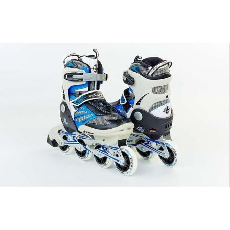 Роликовые коньки раздвижные ZEL Z-638B(36-39) VULCAN (PL, PVC, колесо PU, алюм. рама, синие)