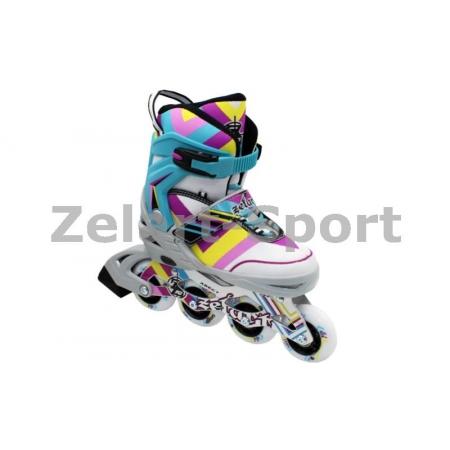Роликовые коньки раздвижные ZEL Z-800B(38-41) ABSTRACT (PL, PVC,колесо PU,алюм. рама,голубые)