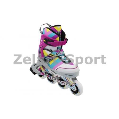 Роликовые коньки раздвижные ZEL Z-800M(34-37) ABSTRACT (PL, PVC,колесо PU,алюм. рама,малиновые)