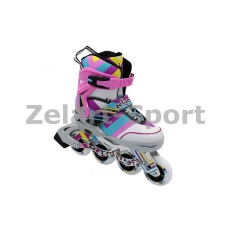 Роликовые коньки раздвижные ZEL Z-800P(34-37) ABSTRACT (PL, PVC,колесо PU,алюм. рама,светло-розовые)