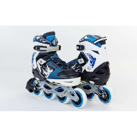 Роликовые коньки раздвижные ZEL Z-809B(34-37) (PL, PVC, колесо PU, алюм. рама, синие)