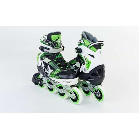 Роликовые коньки раздвижные ZEL Z-809G(34-37) (PL, PVC, колесо PU, алюм. рама, зеленые)