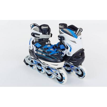 Роликовые коньки раздвижные ZEL Z-812B(34-37) (PL, PVC, колесо PU, алюм. рама, синие)