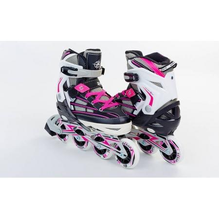 Роликовые коньки раздвижные ZEL Z-812P(34-37) (PL, PVC, колесо PU, алюм. рама, розовые)