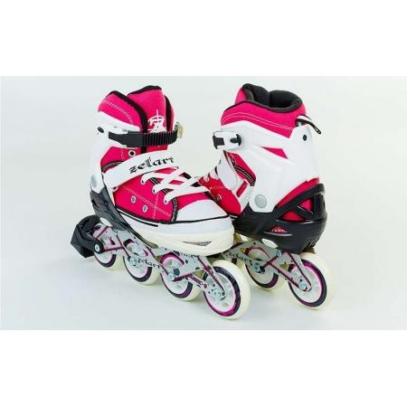 Роликовые коньки раздвижные ZEL Z-823P(34-37) (PL, PVC, колесо PU, алюм. рама, розовые)