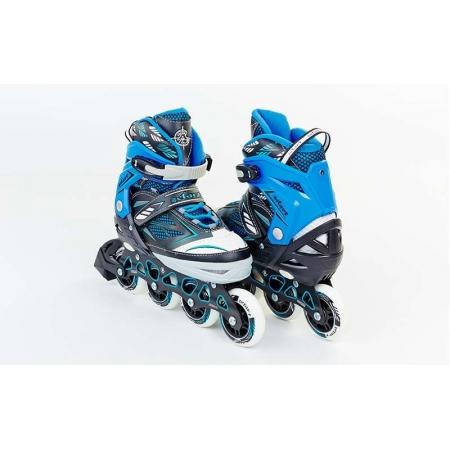 Роликовые коньки раздвижные ZEL Z-9001B(39-42) FOLIAGE (PL, PVC, колесо PU, алюм. рама, синие)