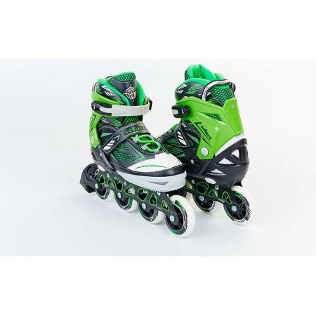 Роликовые коньки раздвижные ZEL Z-9001G(35-38) FOLIAGE (PL, PVC, колесо PU, алюм. рама, зеленые)