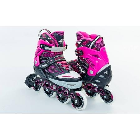 Роликовые коньки раздвижные ZEL Z-9001P(35-38) FOLIAGE (PL, PVC, колесо PU, алюм. рама, розовые)
