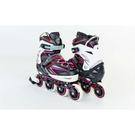Роликовые коньки раздвижные ZEL Z-9002PR(35-38) PERFECTION (PL, PVC,колесо PU,алюм. рама,крас-розов)