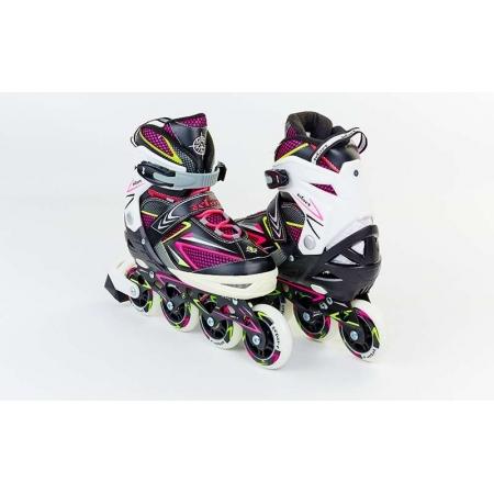 Роликовые коньки раздвижные ZEL Z-9002PY(35-38) PERFECTION (PL, PVC,колесо PU,алюм. рама,роз-жел)