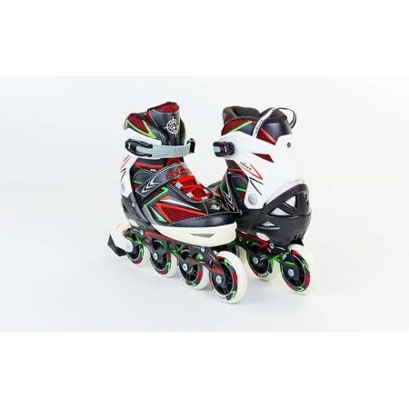 Роликовые коньки раздвижные ZEL Z-9002RG(35-38) PERFECTION (PL, PVC,колесо PU,алюм. рама,крас-салат)