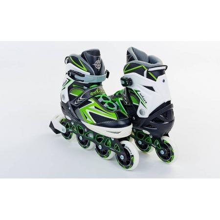 Роликовые коньки раздвижные ZEL Z-9004G(35-38) ELEMENT (PL, PVC,колесо PU,алюм. рама,зеленые)