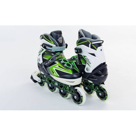 Роликовые коньки раздвижные ZEL Z-9004G(39-42) ELEMENT (PL, PVC,колесо PU,алюм. рама,зеленые)