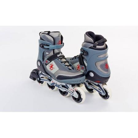 Роликовые коньки ZEL Фитнес Z-1202BK-42 (р-р 42, PL, PVC, колесо PU, алюм. рама, черный-серый)