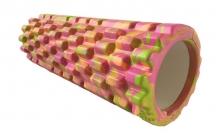 Роллер массажный (Grid Roller) для йоги, мультиколор FI-4940-1 (d-14,5см,l-33см, оранжевый-фиолетов)