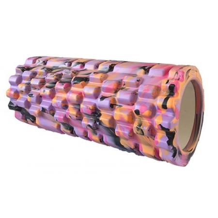 Роллер массажный (Grid Roller) для йоги, мультиколор FI-4940-2 (d-14,5см,l-33см, фиолетовый-оранжев)
