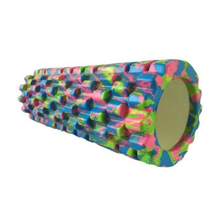Роллер массажный (Grid Roller) для йоги, мультиколор FI-4940-3 (d-14,5см,l-33см, синий-салатовый)