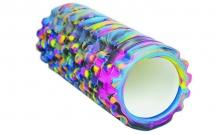 Роллер массажный (Grid Roller) для йоги, мультиколор FI-4940-4 (d-14,5см,l-33см, синий-фиолетовый)