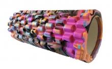 Роллер массажный (Grid Roller) для йоги, мультиколор FI-4940-5 (d-14,5см,l-33см, фиолетовый-черный)
