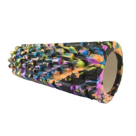 Роллер массажный (Grid Roller) для йоги, мультиколор FI-4940-6 (d-14,5см,l-33см, черный-оранжевый)