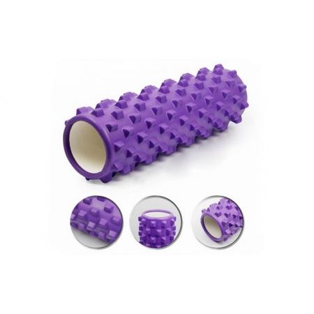Роллер массажный (Grid Roller) для йоги, пилатеса, фитн. FI-4942-1 (d-14,5см, l-45см, фиолетовый)