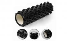Роллер массажный (Grid Roller) для йоги, пилатеса, фитн. FI-4942-2 (d-14,5см, l-45см, черный)