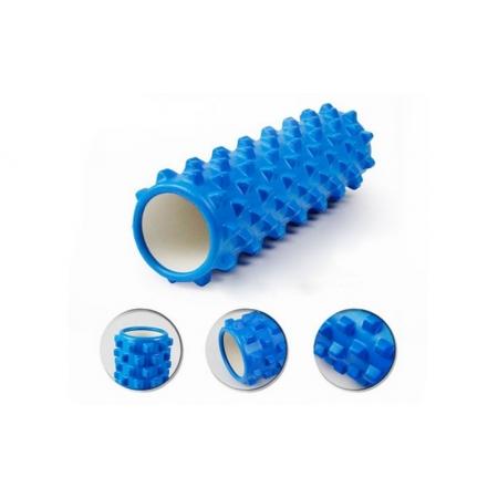 Роллер массажный (Grid Roller) для йоги, пилатеса, фитн. FI-4942-3 (d-14,5см, l-45см, синий)