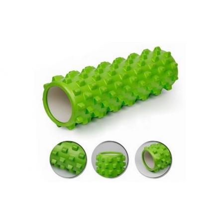 Роллер массажный (Grid Roller) для йоги, пилатеса, фитн. FI-4942-4 (d-14,5см, l-45см, салатовый)