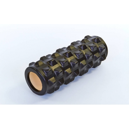 Роллер массажный (Grid Roller) для йоги, пилатеса, фитн. FI-5394-BK (d-10см, l-31см, черный)