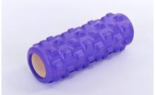 Роллер массажный (Grid Roller) для йоги, пилатеса, фитн. FI-5394-V (d-10см, l-31см, фиолетовый)