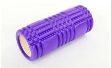 Роллер массажный (Grid Roller) для йоги, пилатеса, фитн. FI-6277-1 (d-14,5см, l-33см, фиолетовый)