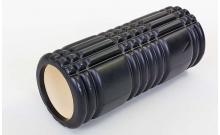 Роллер массажный (Grid Roller) для йоги, пилатеса, фитн. FI-6277-2 (d-14,5см, l-33см, черный)