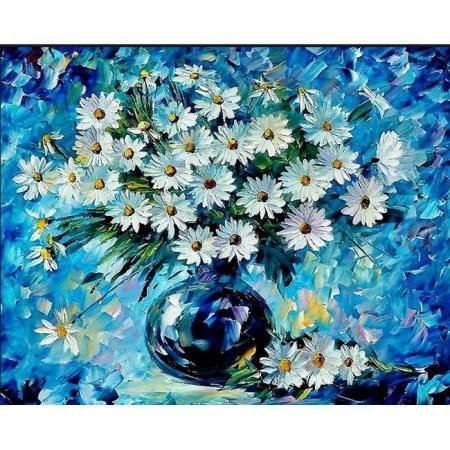 Ромашки на синем фоне, Серия Букет, рисование по номерам, 40 х 50 см, Идейка, Букет ромашек (KH1084)