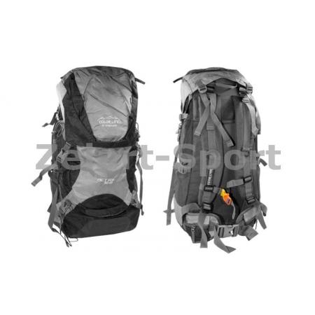 Рюкзак туристический V-50+10л каркасный (жесткий) GA-174-BK COLOR LIFE (PL, NY, алюм, черный)