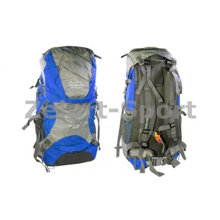 Рюкзак туристический V-50+10л каркасный (жесткий) GA-174-BL COLOR LIFE (PL, NY, алюм, синий)