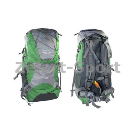 Рюкзак туристический V-50+10л каркасный (жесткий) GA-174-DG COLOR LIFE (PL, NY, алюм, т.зеленый)