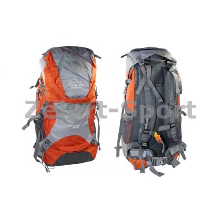 Рюкзак туристический V-50+10л каркасный (жесткий) GA-174-R COLOR LIFE (PL, NY, алюм, красный)