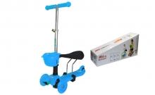 Самокат с наклоном руля Micro Mini с сиденьем 3 в 1 C-0331-BL голубой (3-х кол, PU свет,h-60-70см)