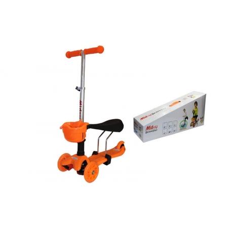 Самокат с наклоном руля Micro Mini с сиденьем 3 в 1 C-0331-OR оранжевый (3-х кол,PU свет,h-60-70см)