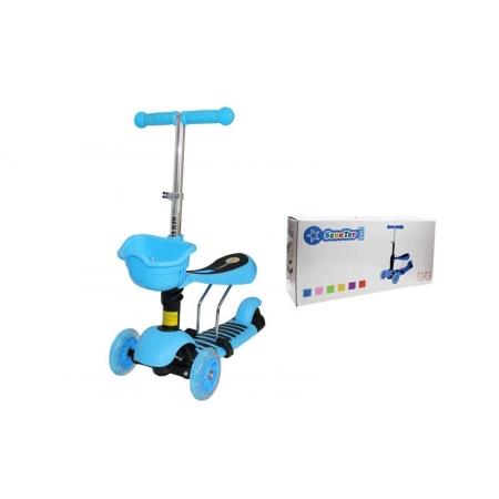 Самокат с наклоном руля Micro Mini с сиденьем 3 в 1 C-0332-BL голубой (3-х кол, PU свет,h-65-73см)