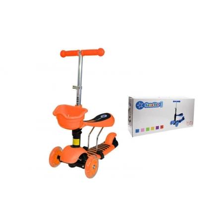 Самокат с наклоном руля Micro Mini с сиденьем 3 в 1 C-0332-OR оранжевый (3-х кол,PU свет, h-65-73см)