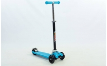 Самокат с наклоном руля Trolo Maxi Plus складной C-4577-BL синий (3-х кол, PU, h-58-83см, 36х13см)