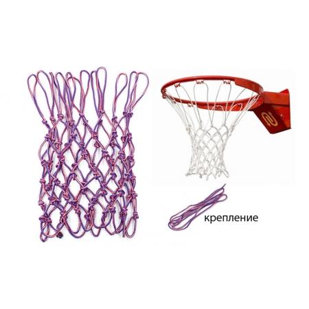 Сетка баскетбольная Элит UR SO-5253 (полипропилен, d-6,5мм, белый-крас-синий, в компл. 1шт)