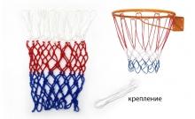 Сетка баскетбольная Игровая UR SO-5250 (полипропилен, d-3,5мм, белый-крас-синий, в компл. 1шт)
