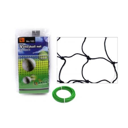 Сетка для волейбола C-103 (хлопок, р-р 9,5x1м, ячейка 10x10см, с метал. тросом)