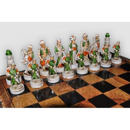Шахматы Nigri Scacchi Александр Македонский, 35 x 35 см (полистоун, кожа, поле Старинная карта) | SP101+CD35M