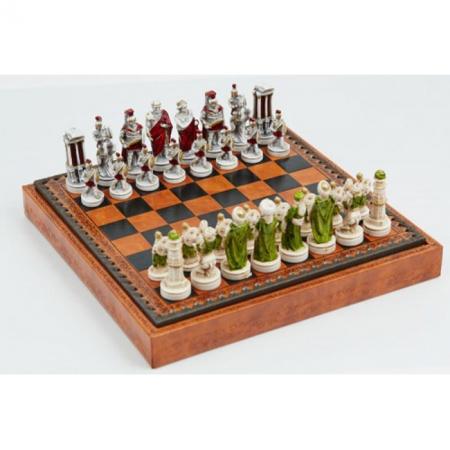 Шахматы Nigri Scacchi Александр Македонский, 48 x 48 см (полистоун, кожа, поле Старинная карта) | SP100+CD48M