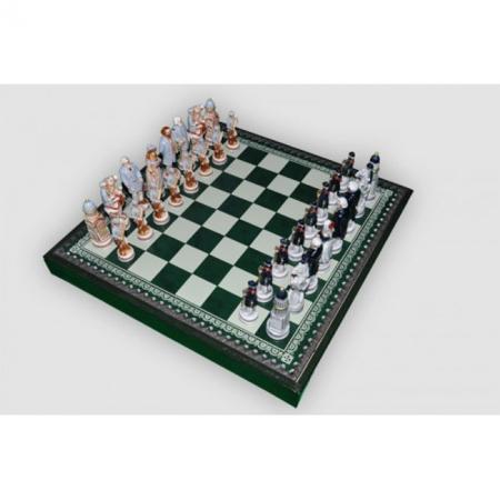 Шахматы Nigri Scacchi Битва при Геттисберге, 35 x 35 см (полистоун, кожа, поле Старинная карта) | SP94+CD35M