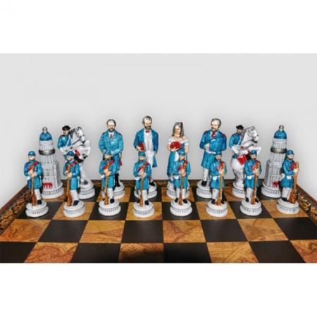 Шахматы Nigri Scacchi Битва при Геттисберге, 48 x 48 см (полистоун, кожа, поле Старинная карта) | SP89+CD48M